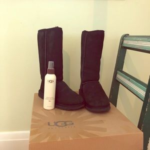 UGG Tall Black Fuzzy Boots